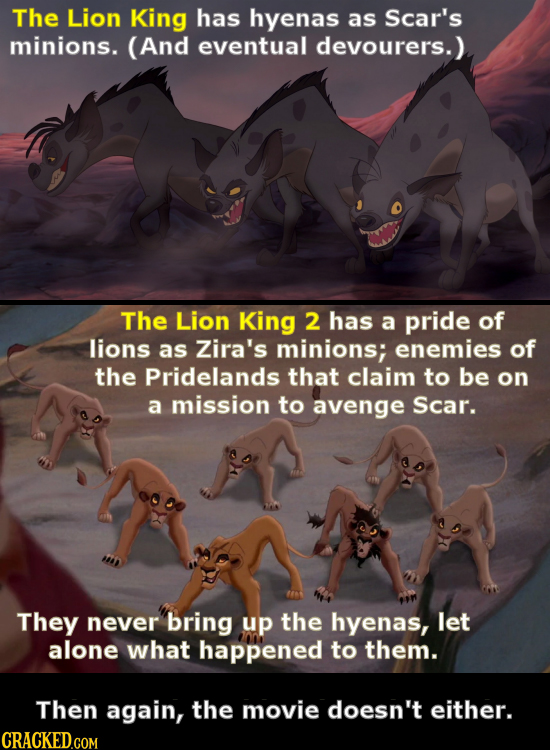 The Lion King has hyenas as Scar's minions. (And eventual devourers. The Lion King 2 has a pride of lions as Zira's minions; enemies of the Pridelands