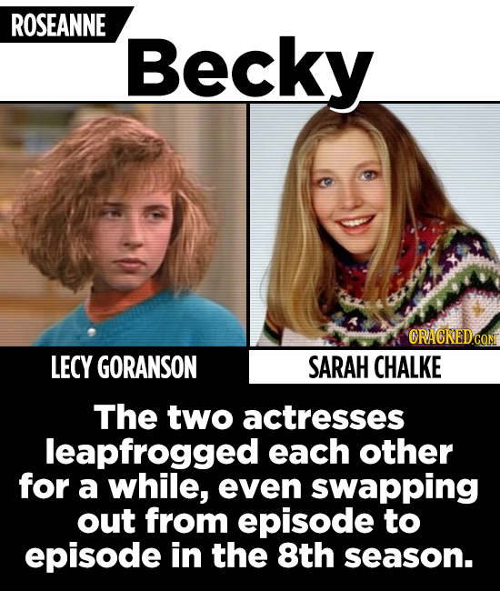 ROSEANNE Becky CRACKEDCON LECY GORANSON SARAH CHALKE The two actresses leapfrogged each other for a while, even swapping out from episode to episode i