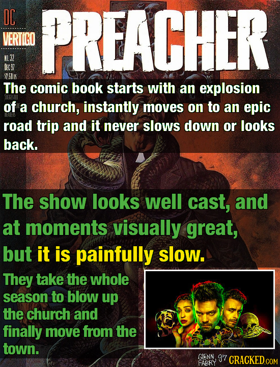 DC PREACHER VERTIGO NL.32 DEE 97 S2. 5K The comic book starts with an explosion of a church, instantly moves on to an epic road trip and it never slow