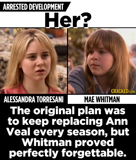 ARRESTED DEVELOPMENT Her? ALESSANDRA TORRESANI MAE WHITMAN The original plan was to keep replacing Ann Veal every season, but Whitman proved perfectly