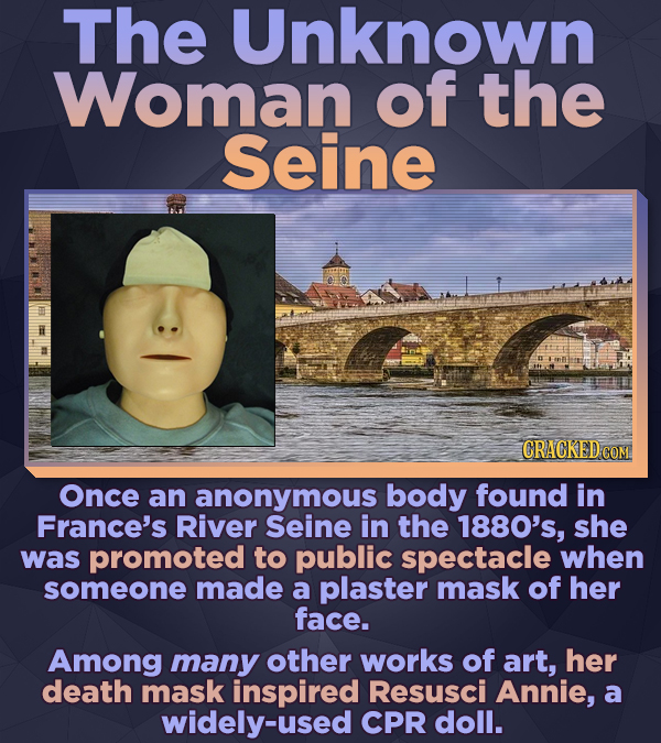 The Unknown Woman of the Seine CRACKED COM Once an anonymous body found in France's River Seine in the 1880's, she was promoted to public spectacle wh