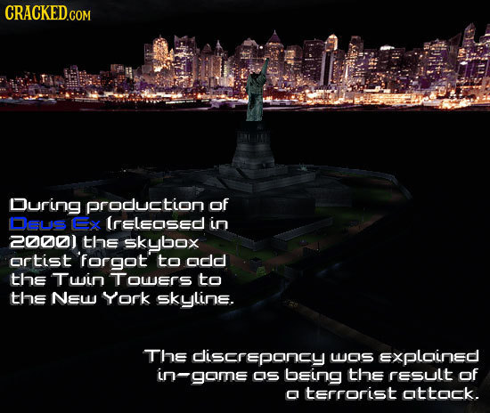 During production of Osus Ex lreleosed in 2000) the skybox ortist 'forgot to odd the Twin TOwers to tHE NEW York skyline. The discrepancy WOS Exploine
