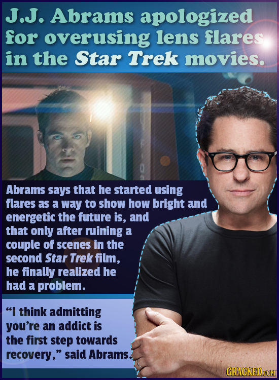 J.J. Abrams apologized for overusing lens flares in the Star Trek movies. Abrams says that he started using flares as a way to show how bright and ene
