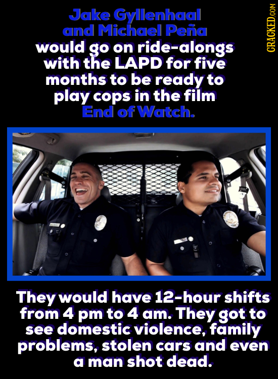 Jake Gyllenhaal and Michael Pena would go on ride-alongs with the LAPD for five CRACKED.COM months to be ready to play cops in the film End of Watch.