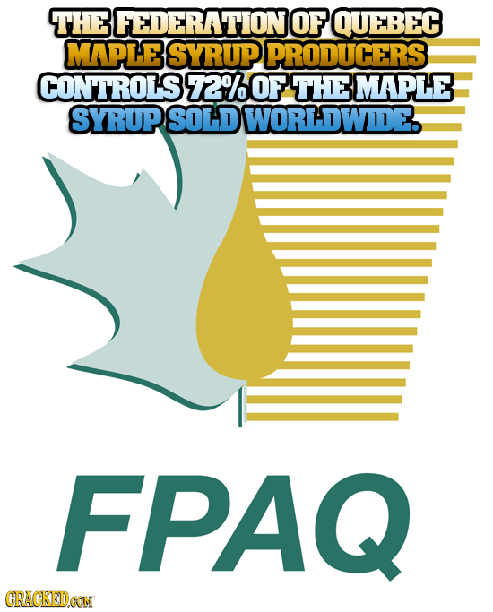 THE 3FEDERATIONO OF QUEBEC MAPLE SYRUP PRODUCERS CONTROLS 7200F THE MAPLE SYRUP SOLD WORLDWIDE. FPAQ CRACKEDOON