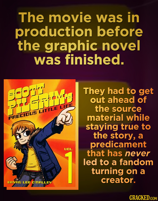 The movie was in production before the graphic novel was finished. SCO They had to get POME out ahead of LIEE the source LITTLE material while PRECIOS