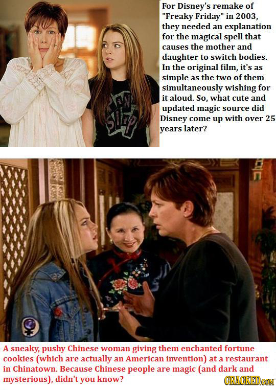 For Disney's remake of Freaky Friday in 2003, they needed an explanation for the magical spell that causes the mother and daughter to switch bodies.