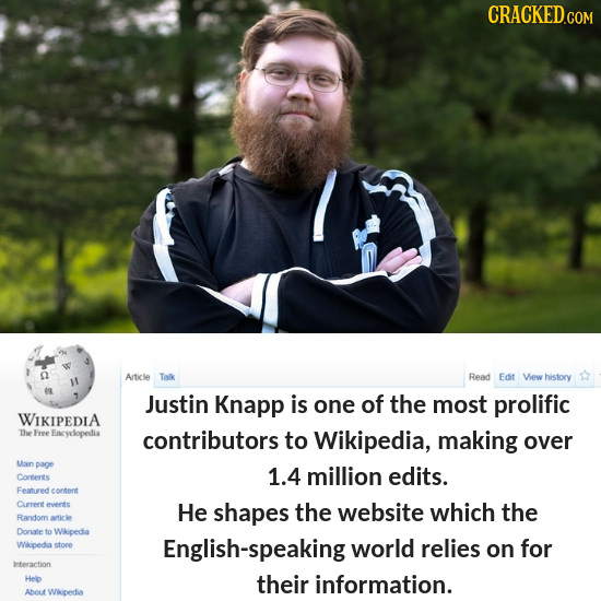 CRACKED Article Talk Read Edit View history Justin Knapp is one of the most prolific WIKIPEDIA The Free Eneyclopedia contributors to Wikipedia, making
