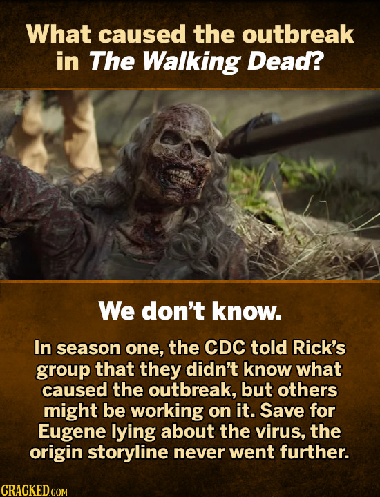 What caused the outbreak in The Walking Dead? We don't know. In season one, the CDC told Rick's group that they didn't know what caused the outbreak,
