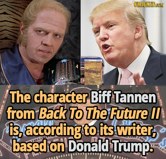 The character Biff Tannen from Back TO The Future II is, according to its writer, based on Donald Trump.