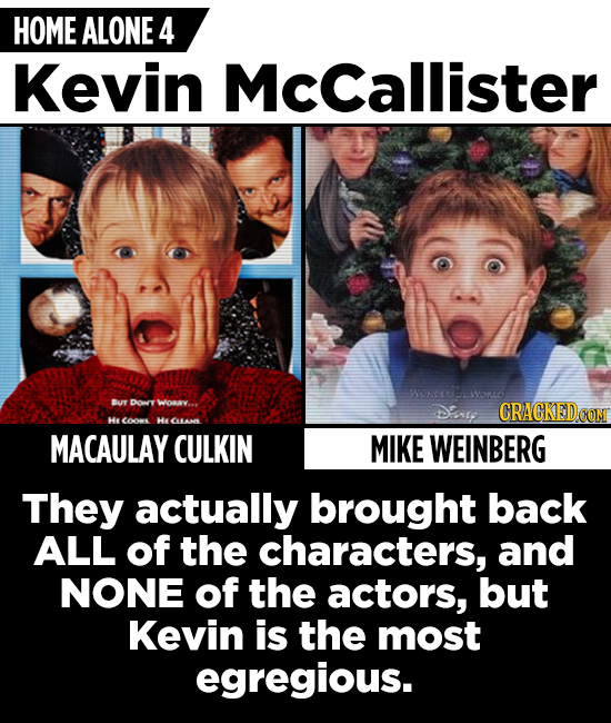 HOME ALONE 4 Kevin McCallister SUN02wo Br Dory wov.. DEne CRACKEDCON Hy oe He CHN MACAULAY CULKIN MIKE WEINBERG They actually brought back ALL of the