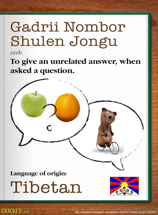 Gadrii Nombor shulen Jongu verb. To give an unrelated answer, when asked a question. Language of origin: Tibetan CRACKEDC hhplbeterhanenglish comgedri