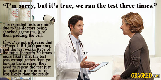 I'm sorry, but it's true, we ran the test three times. The repeated tests are not due to the doctors being shocked at the result or them padding the