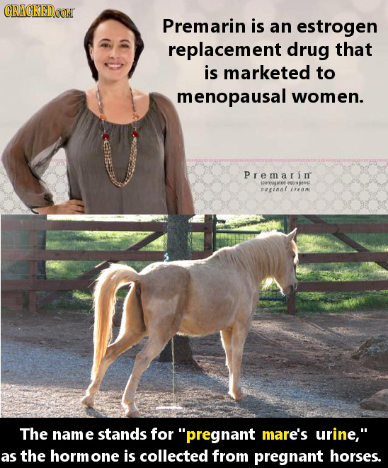 Premarin is an estrogen replacement drug that is marketed to menopausal women. Premarin pongate tstrotns einnl The nam e stands for pregnant mare's u