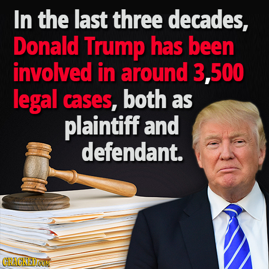 In the last three decades, Donald Trump has been involved in around 3,500 legal cases, both as plaintiff and defendant.