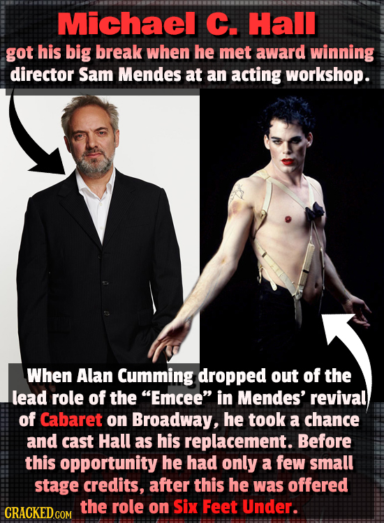Michael C. Hall got his big break when he met award winning director Sam Mendes at an acting workshop. When Alan Cumming dropped out of the lead role