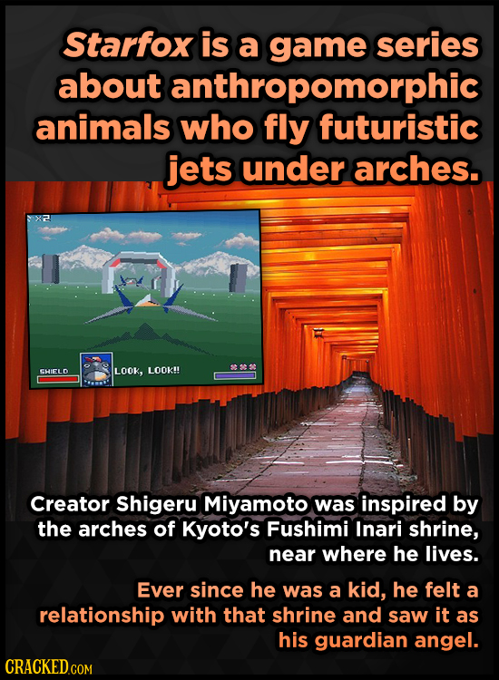 Starfox is a game series about anthropomorphic animals who fly futuristic jets under arches. SHIELD LOOK, LOOK!! Creator Shigeru Miyamoto was inspired