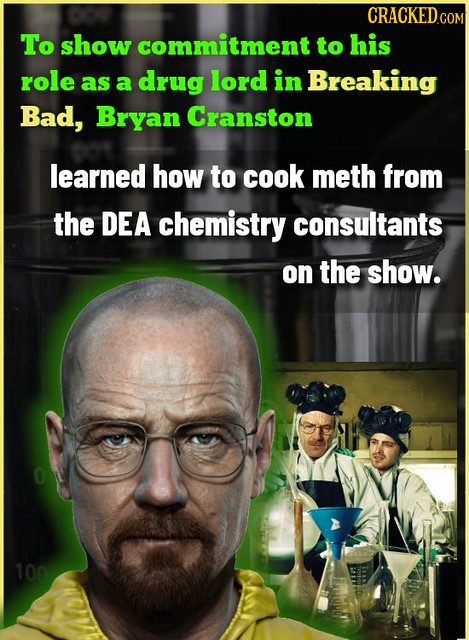 To show commitment to his role as lord in a drug Breaking Bad, Bryan Cranston learned how to cook meth from the DEA chemistry consultants on the show.