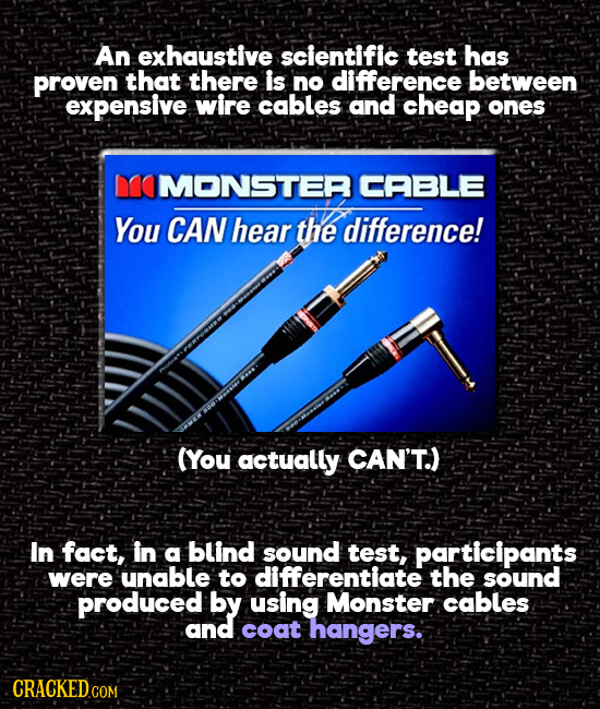 An exhaustive scientific test has proven that there is no difference between expensive wire cables and cheap ones MOMONSTER CABLE You CAN hear the dif