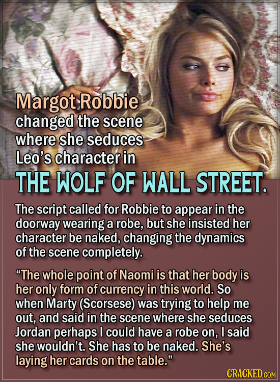15 Actors Behind Important Details In Movies And Shows - Margot Robbie changed the scene where she seduces Leo's character in The Wolf of Wall Street.