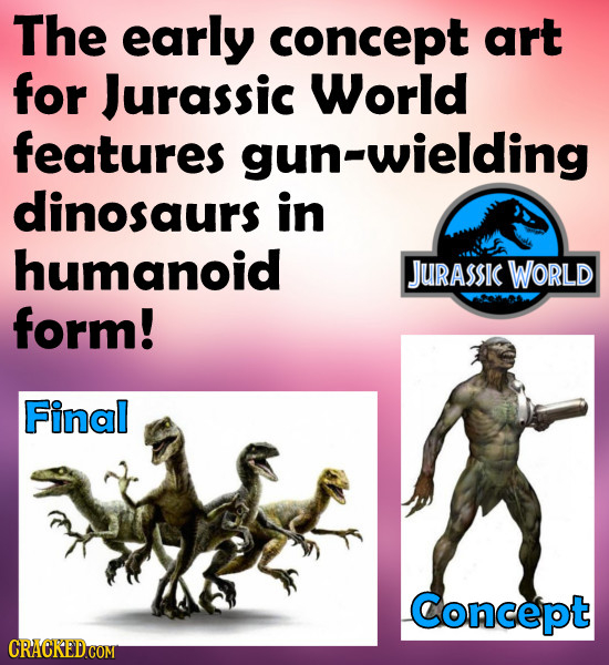 The early concept art for Jurassic World features gun-wielding dinosaurs in humanoid JurassIC WORLD form! Final Concept
