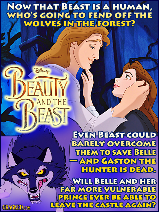 Now THAT BEAST IS A HUMAN, WHO'S GOING TO FEND OFF THE WOLVES IN THE FOREST? BEAUY Disney BEAST AND THE EVEN BEAST COULD BARELY OVERCOME THEM TO SAVE