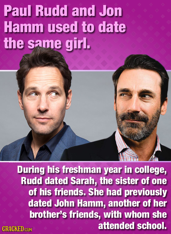 Paul Rudd and Jon Hamm used to date the same girl. During his freshman year in college, Rudd dated Sarah, the sister of one of his friends. She had pr
