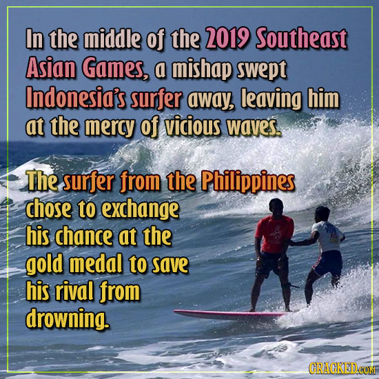 In the middle of the 2019 Southeast Asian Games, a mishap swept Indonesia's surfer away, leaving him at the mercy of vicious waves. The surfer from th