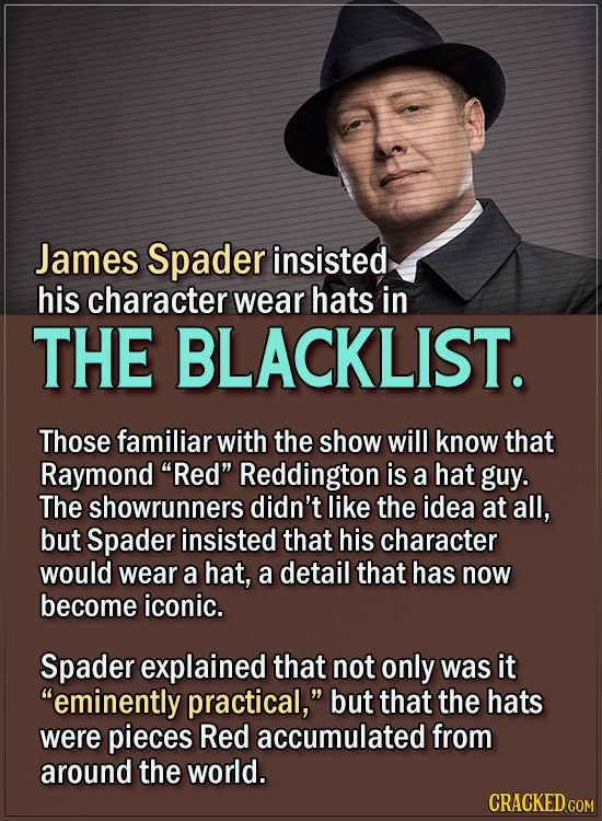 15 Actors Behind Important Details In Movies And Shows - James Spader insisted his character wear hats in The Blacklist.  Those familiar with the show
