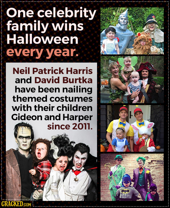 One celebrity family wins Halloween every year. Neil Patrick Harris and David Burtka have been nailing themed costumes with their children Gideon and