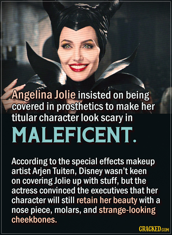 15 Actors Behind Important Details In Movies And Shows - Angelina Jolie insisted on being covered in prosthetics to make her titular character look sc