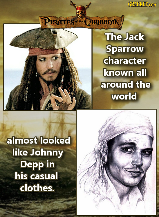 PIRaTES ofthe ARUBBEAN The Jack Sparrow character known all around the world almost looked like Johnny Depp in his casual clothes.