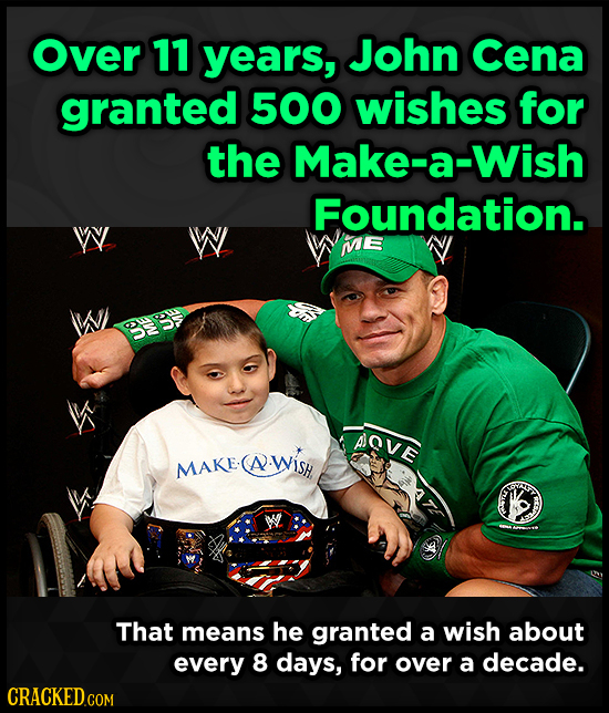 Over 11 year's, John Cena granted 500 wishes for the Make-a-W Foundation. W W ME 3S D AOVE MAKE MAKECA WISH (A That means he granted a wish about ever