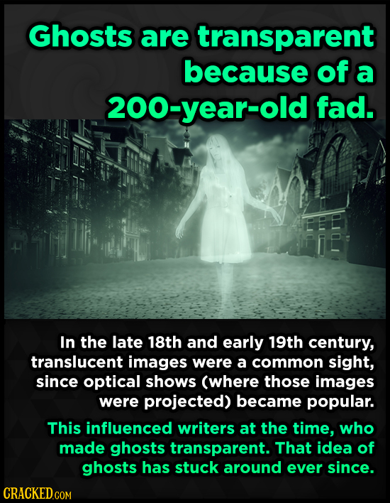 Ghosts are transparent because of a 200-year-old fad. In the late 18th and early 19th century, translucent images were a common sight, since optical s