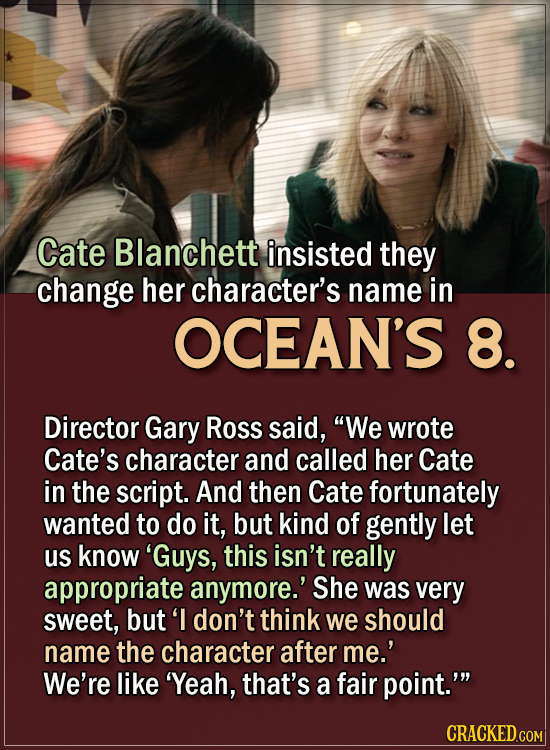 15 Actors Behind Important Details In Movies And Shows - Cate Blanchett insisted they change her character's name in Ocean's 8.  Director Gary Ross sa
