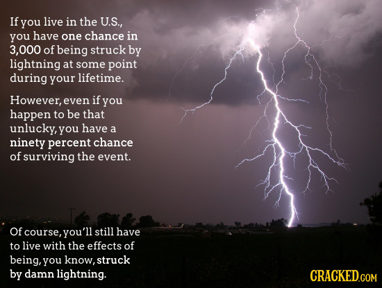 If you live in the U.S., you have one chance in 000 of being struck by lightning at some point during your lifetime. However, even if you happen to be