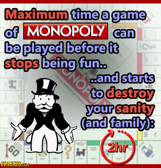 Maximum time a game of MONOPOLY can be played before it stops being fun.. ..and starts to destroy your sanity (and family)e 60 2hr h CRACKEDCON