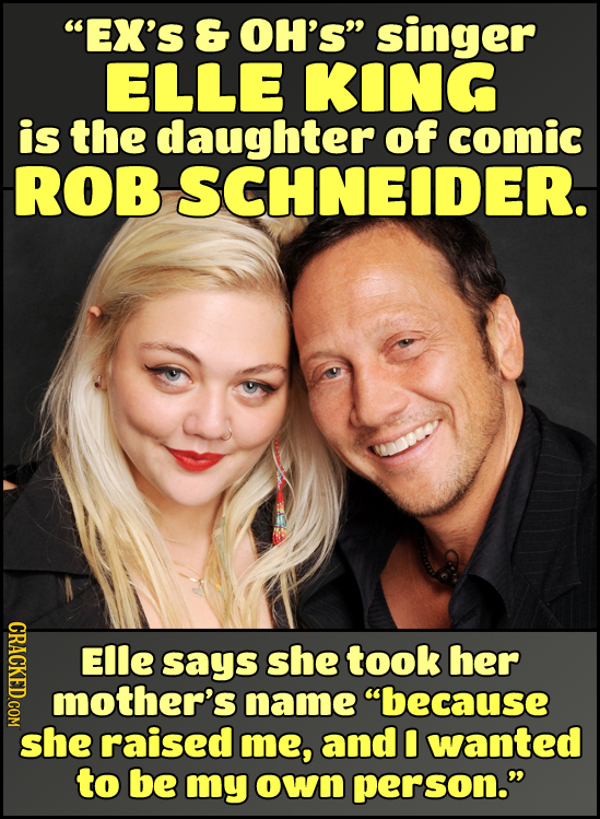 EX'S & OH'S singer ELLE KING is the daughter of comic ROB SCHNEIDER. EIle says she took her mother's name because she raised me, and wanted to be m