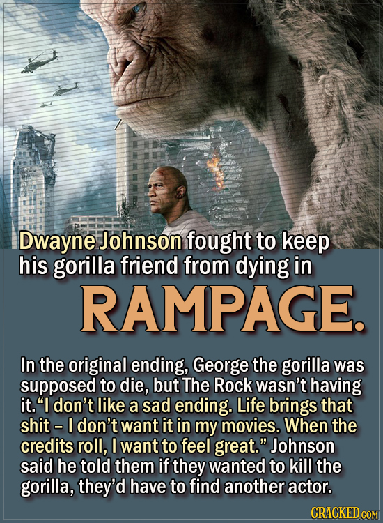 15 Actors Behind Important Details In Movies And Shows - Dwayne Johnson fought to keep his gorilla friend from dying in Rampage. In the original endin