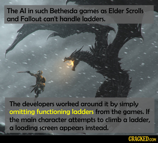 The Al in such Bethesda games as Elder Scrolls and Fallout can't handle ladders. The developers worked around it by simply omitting functioning ladder