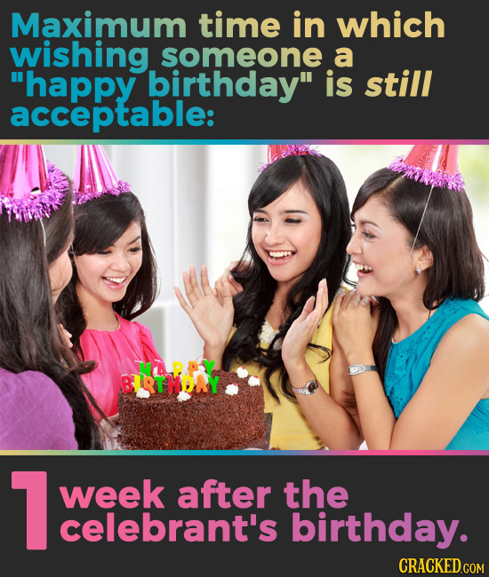 Maximum time in which wishing someone a happy birthday is still acceptable: BRTHORY 1 week after the celebrant's birthday. CRACKED.COM