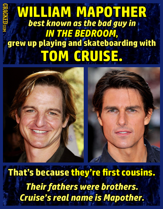 GRAOT WILLIAM MAPOTHER best known as the bad guy in IN THE BEDROOM, grew up playing and skateboarding with TOM CRUISE. That's because they're first co