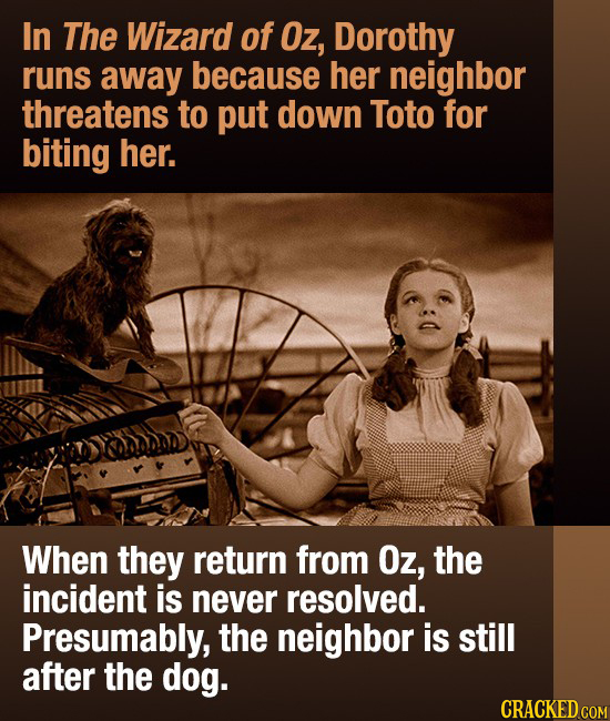 In The Wizard of Oz, Dorothy runs away because her neighbor threatens to put down Toto for biting her. When they return from Oz, the incident is never