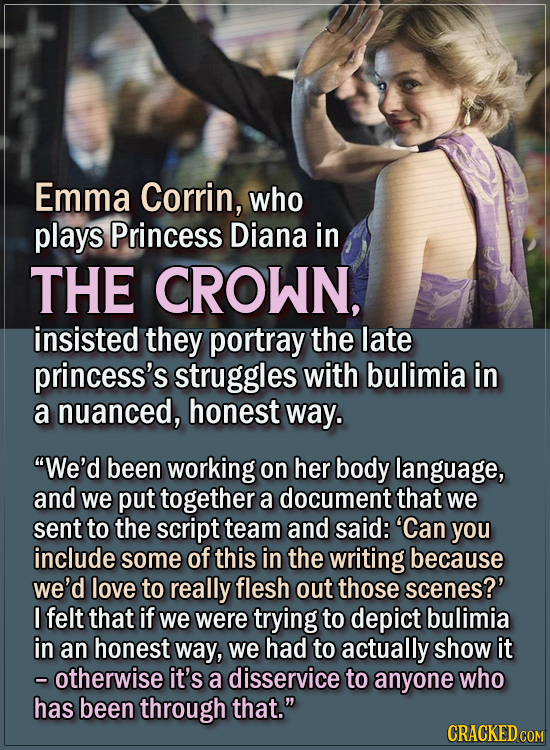 15 Actors Behind Important Details In Movies And Shows - Emma Corrin, who plays Princess Diana in The Crown, insisted they portray the late princess's
