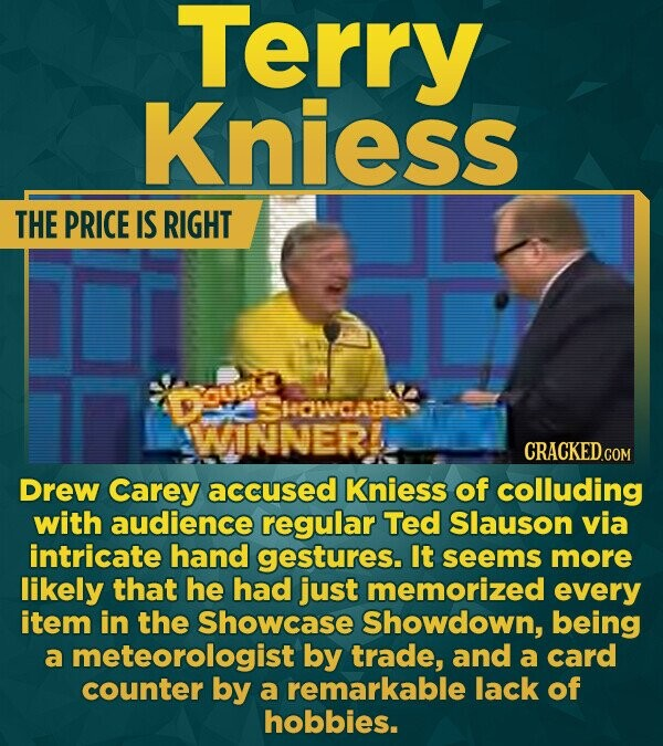 Terry Kniess THE PRICE IS RIGHT oue SHOwdam WINNER CRACKEDco Drew Carey accused Kniess of colluding with audience regular Ted Slauson via intricate ha