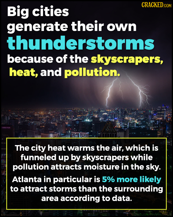 Big cities CRACKEDCON generate their own thunderstorms because of the skyscrapers, heat, and pollution. The city heat warms the air, which is funneled