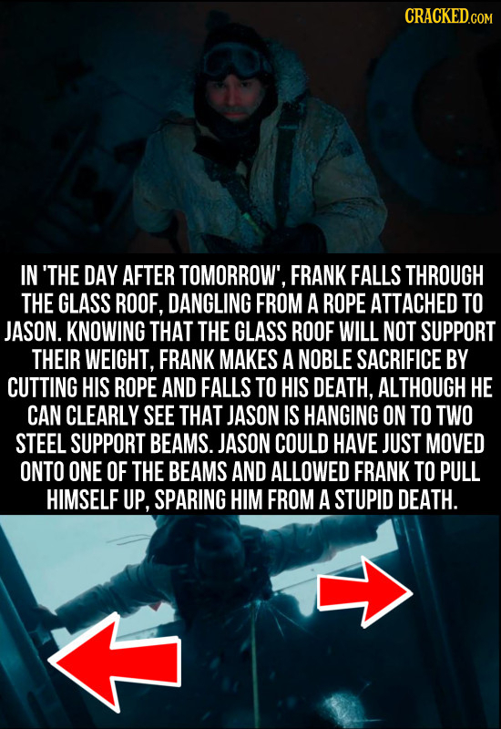 CRACKED.COM IN 'THE DAY AFTER TOMORROW', FRANK FALLS THROUGH THE GLASS ROOF, DANGLING FROM A ROPE ATTACHED TO JASON. KNOWING THAT THE GLASS ROOF WILL