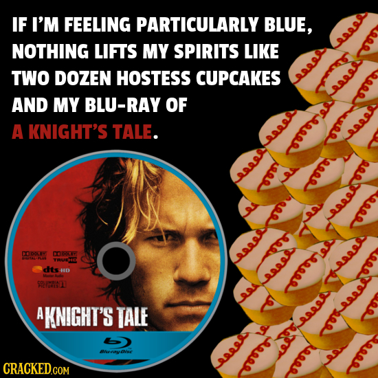 IF I'M FEELING PARTICULARLY BLUE, NOTHING LIFTS MY SPIRITS LIKE a888 TWO DOZEN HOSTESS CUPCAKES aee AND MY BLU-RAY OF Re88 RR URO a A KNIGHT'S TALE. a
