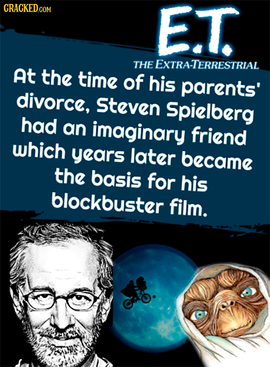 CRACKEDGO E.T THE EXTRA-TERRESTRIAL At the time of his parents' divorce, Steven Spielberg had an imaginary friend which years later became the basis f