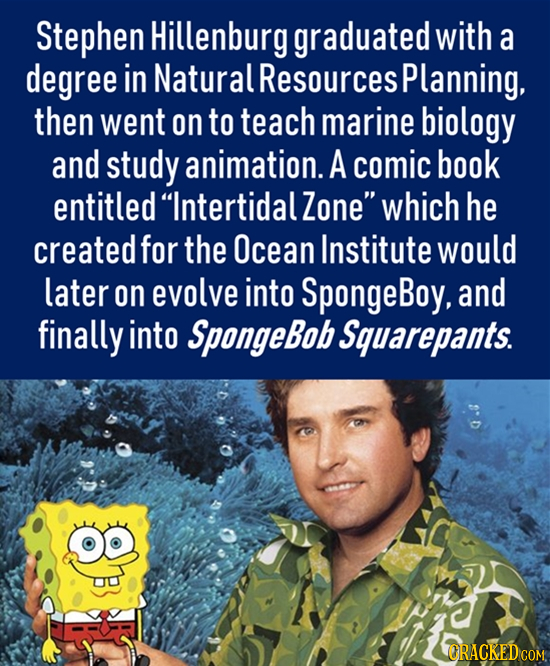 Stephen Hillenburg graduated with a degree in Natural Resources Planning, then went on to teach marine biology and study animation. A comic book entit